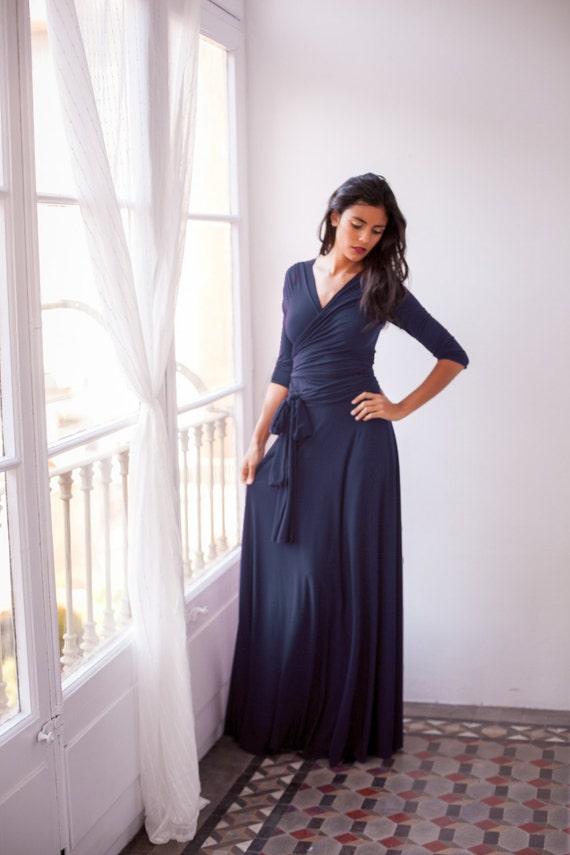 Marineblau Brautjungfernkleid marineblau Maxi Kleid