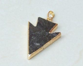 Labradorite Arrowhead Pendant - Labradorite Arrow Pendant - Labradorite Pendant - Gemstone Pendant - Gold Edge - 30mm x 40mm - 2286