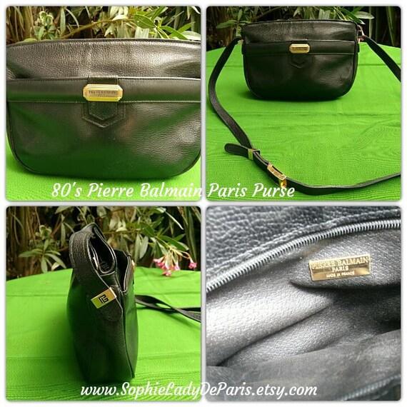 Vintage Balmain Purse Paris Patented Black Leather 80's French Shoulder Handbag Crossbody Bag Zipped #sophieladydeparis