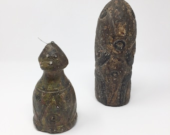 African totemic clay figures multicolor bead/string detail 20th century