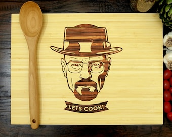 Breaking Bad Cutting Board, Let's Cook, Walter White, Wedding Gift, Heisenberg, Heisenberg cutting board