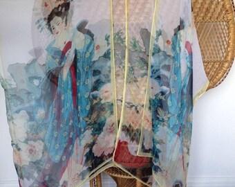 Kimono jacket,kaftan,chiffon cover up,beach cover up,Floaty kimono,oriental kimono