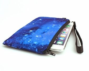Smartphone Wristlet Purse, Padded iPhone 8 Plus Purse, Nebula Phone Wristlet Bag with Removable Wrist Strap - blue night sky stars