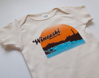 Winooski Vermont baby bodysuit natural color USA made organic cotton vintage inspired