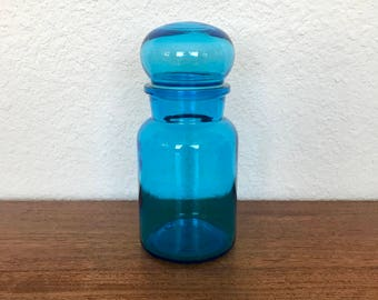 Large Belgian Bubble Lid Blue Apothecary Jar   Storage Container