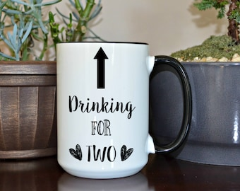 Pregnancy Announcement ,Home and Living, Kitchen and Dining, Drink and Barware, Drinkware, Mugs, Drinking For Two, Pregnancy Mug