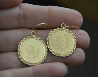 Gold coin earrings, dangle coin earrings coin pendant earrings, antique coin earrings delicate gold earrings coin earrings, vintage earrings