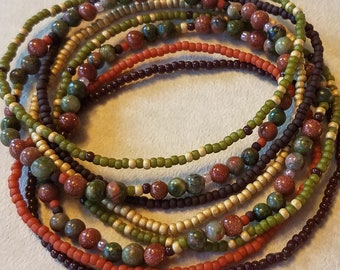 Seed bead bracelet, beaded bracelet, stretch bracelet, beaded jewelry, bracelet set of 8, stretch bracelet, green bracelet, boho bracelets