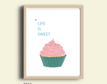 Printable art Life is Sweet typography art print Cupcake print Cupcake Art Cupcake nursery art nursery print dorm decor dorm art girls room