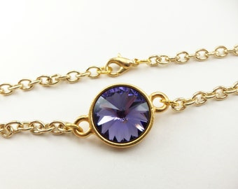 Purple Crystal Bracelet Gold Chain Bracelet Purple Gold Bracelet