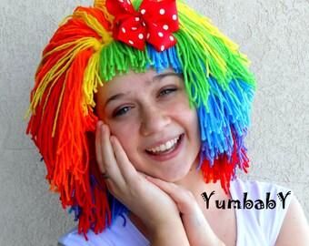 Clown Wig, Halloween Costume, Clown Costume, Orange Red Green Yellow Purple Blue, Red Polka Dot Bow, Womens Doll Wig