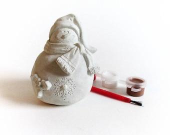 Snowman decor - Snowman - Paint your own - Paint your own Christmas - Snowman figurine - Christmas decor - Christmas home decor -