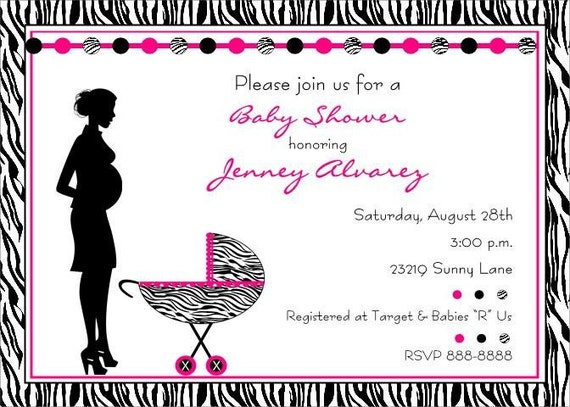 Zebra Print Baby Shower Invitations for Boy or Girl
