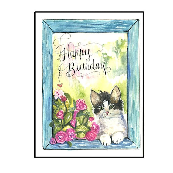 Cute Kitten Birthday Card With Watercolor Flowers