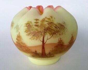 Fenton Burmese Glass Rose Bowl, 1970s, Fenton Artist Signed Satin Glass Rose Bowl, Artist Gloria Finn, Holiday Gift