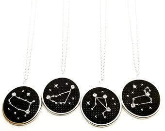 Zodiac Constellation Necklace | Celestial Cross Stitch Embroidered Necklace | Swarovski Crystal | One of a Kind Jewelry | Hand Stitched