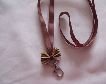 CLEARANCE clip Keychain bow Brown mustard