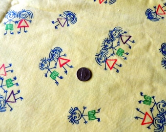 1 Yard Corduroy in  Whimsical Stick People Print in Bright Yellow