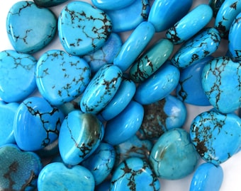 """16mm blue turquoise heart beads 16"""" strand 15817"""