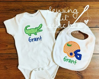 Florida Gators Baby Set-- personalized onesie and bib