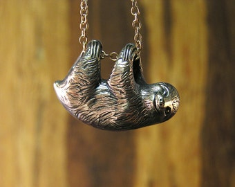 "Sloth Necklace, three toe sloth in Sterling Silver 925, Pendant dangles freely on a 20"" inch chain (sw)"