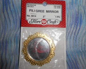 Fibre Crafts Metal Filigree Mirror-Old Store Stock