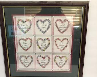 Homco Home Interiors Love is Picture Framed Print Dark Wood 1 Cor. 13 Hearts