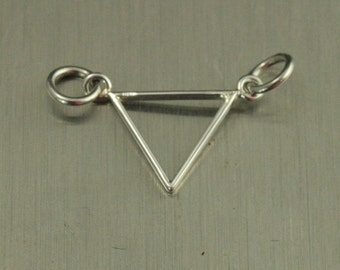 Sterling Silver Small Open Triangle Link Charm--Triangle Festoon--Triangle Connector--Geometric Link Charm--Shape Connector--Small Connector