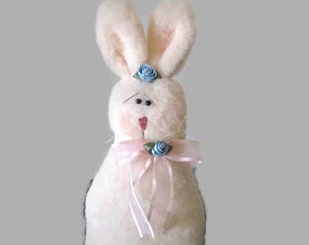 Stuffed Rabbit Plush Body Weighted Bottom 1970s Easter Decoration