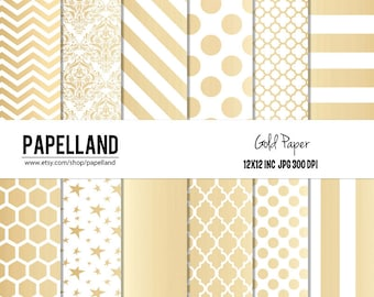 Gold Digital Paper Pack,  for scrapbooking, Making Cards, Tags, Invitations, party decor, backgrounds 12x12 instant download