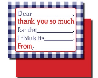 Kids Fill In Thank You Notes, Blue Check