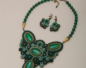 Clothing Gift Green Jewelry Set Beauty Gift Green Bib Necklace Fairytale Gift Romantic Gift For Her Jewelry For Women