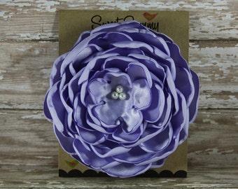 34 Colors Large Satin Flower Pin, Lavender Satin Flower Pin