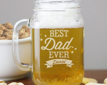 Engraved Best Dad Ever Mason Jar, father's day gift, father, mason jar mug, personalized, custom, drinkware -gfyL945871