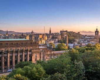 City of Edinburgh from Calton Hill at Sunset. Original Photograph, available in various sizes