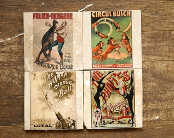 Circus Posters Tile Coasters - Set of 4 // Vintage // Circus Posters // Colorful // Big Top // human cannonball // lion tamer