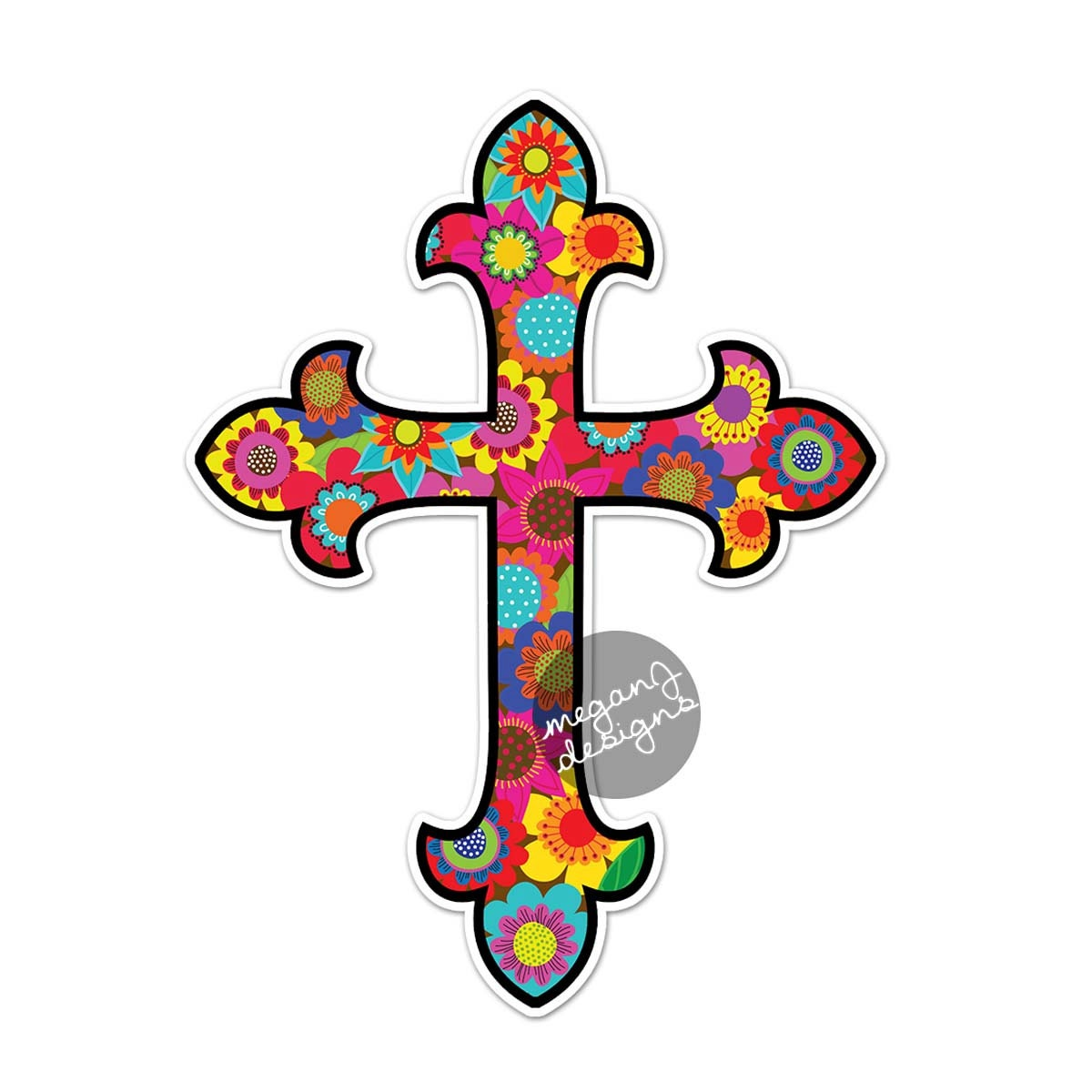 Cross car decal floral colorful bumper sticker christian zoom biocorpaavc