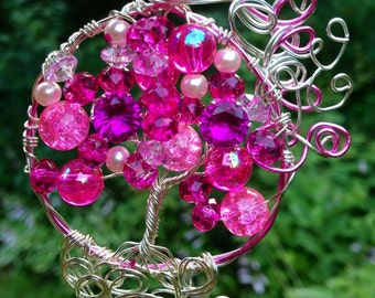 Hot Pink Tree of Life Pendant
