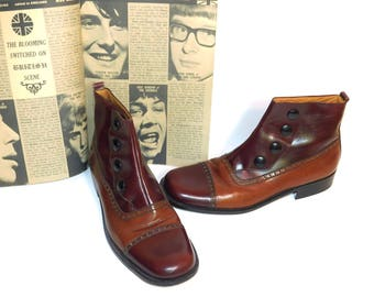 US Size 9 Mens~ Very Rare Prima Strada Two Tone Spat Snap Ankle Boots ~ Made in Italy for Thayer Mcniel~ With original Box