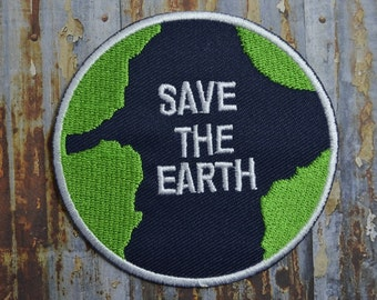 Save the Earth Enviroment Embroidered Iron On Or Sew On Patch