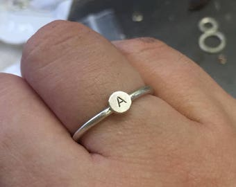 Personalized Initial Stacking Ring, Single Ring, Stackable Ring, Initial Letter Silver Ring, Minimal Ring, Silver Ring, Silver Stacking Ring