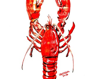 Red Lobster Colored Pencil Sketch Drawing Art PRINT By Scott D Van Osdol Seafood Sea Food Restaurant Business Eat Eating Coastal Creature