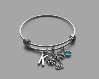 Palm Tree Charm Bracelet, Palm Tree Bracelet, Beach Charm Bracelet, Beach Bracelet, Initial Bracelet, Birthstone Bracelet, Stainless Steel