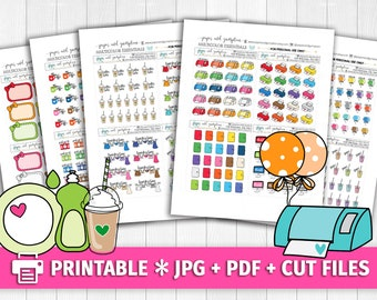 BRIGHT Multicolor Functional Deco/Printable Planner Stickers/for use with Erin Condren/Cutfiles/Summer Coffee Pink Birthday Printer