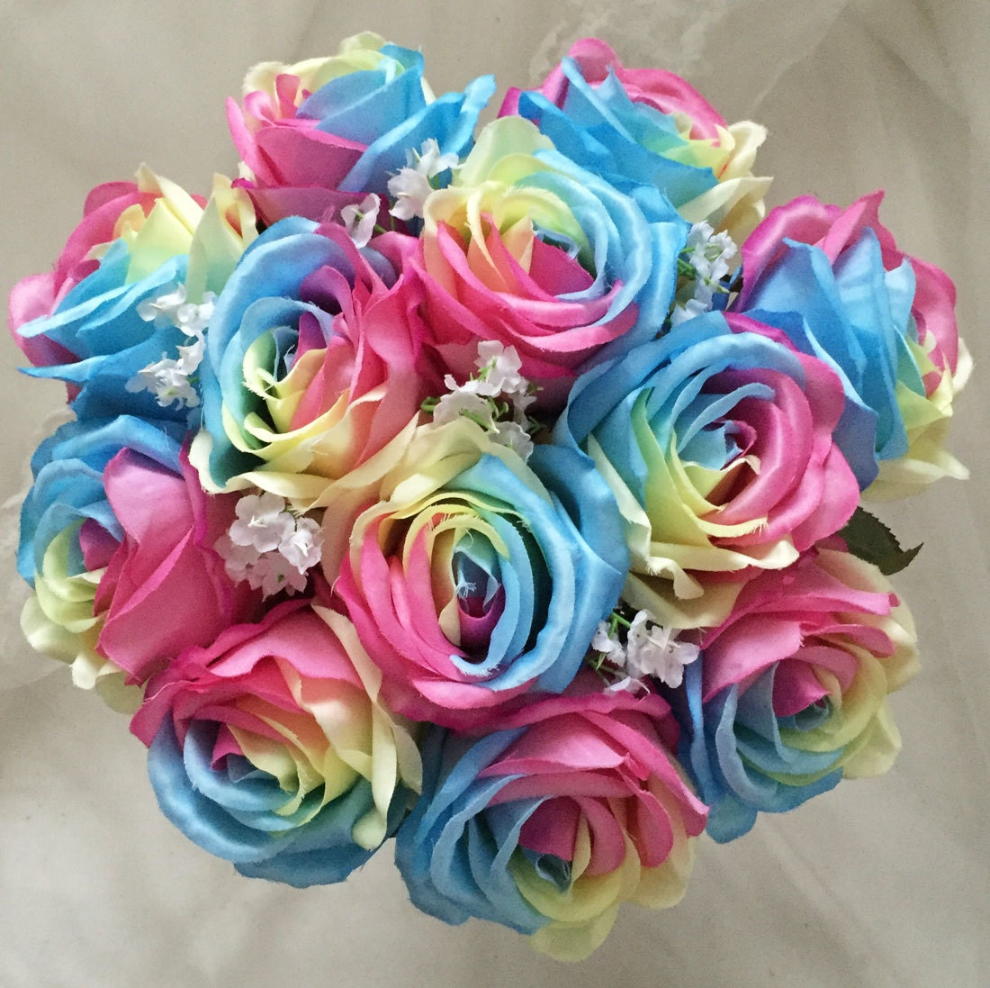 Mix silk rainbow roses artificial flowers wedding bouquet for Where can i buy rainbow roses