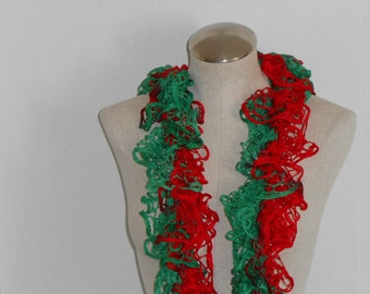 women knitted ruffle scarf in red and green - ruffle green and red scarf knitted - scarf ruffle knitted red and green