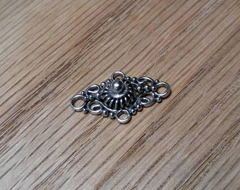 Fancy Sterling Silver(Presumed) Beaded Wire Link or Connector, 11.75x19.50mm