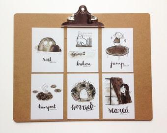 Inktober Postcard Set No2 -  My illustrations for Inktober 2016