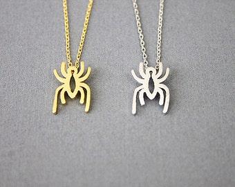 Gold and Silver Spider Charm Necklace Simple and Modern Necklace  Dainty and Stylish Necklace