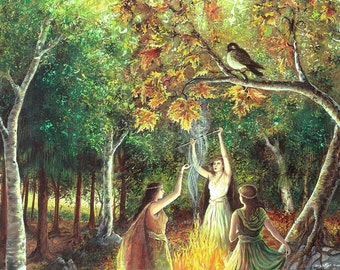 The Coven 11x14 Fine Art Print Pagan Mythology Samhain Witch Nature Goddess Art